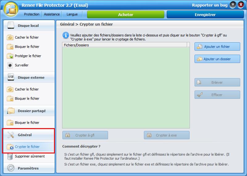 sélectionner la fonction crypter un fichier