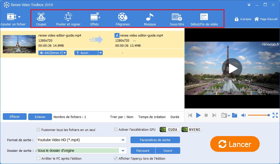 fonctions pour modifier une vidéo