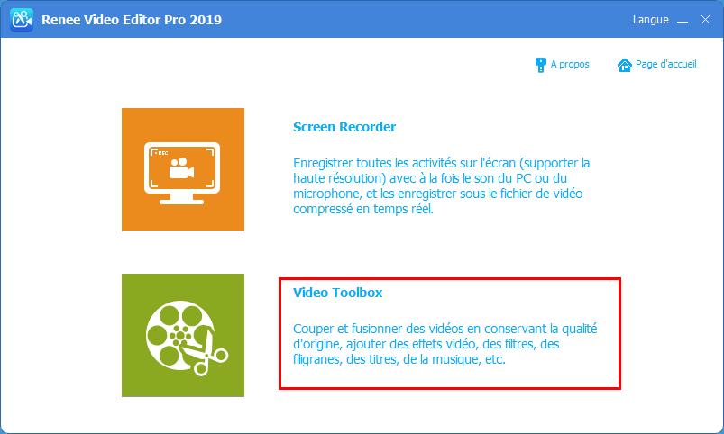 fonction de Video Toolbox de Renee Video Editor Pro