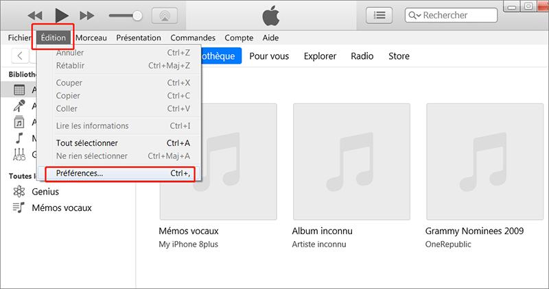 l'option Préférences sur iTunes
