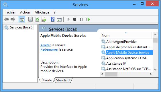 trouver le service Apple Mobile Device