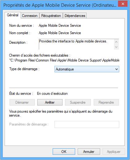 redémarrer le service Apple Mobile
