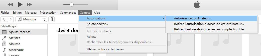 autoriser la connexion de l'ordinateur à iTunes