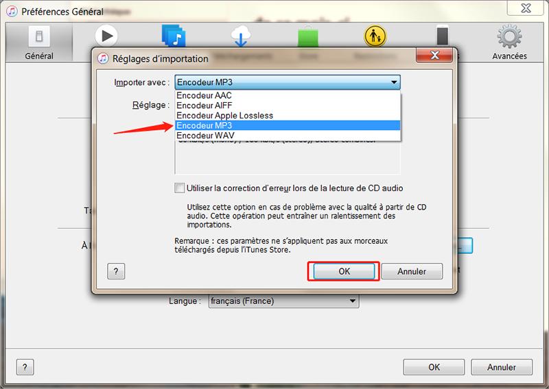 choisir l'encodeur MP3 sur iTunes