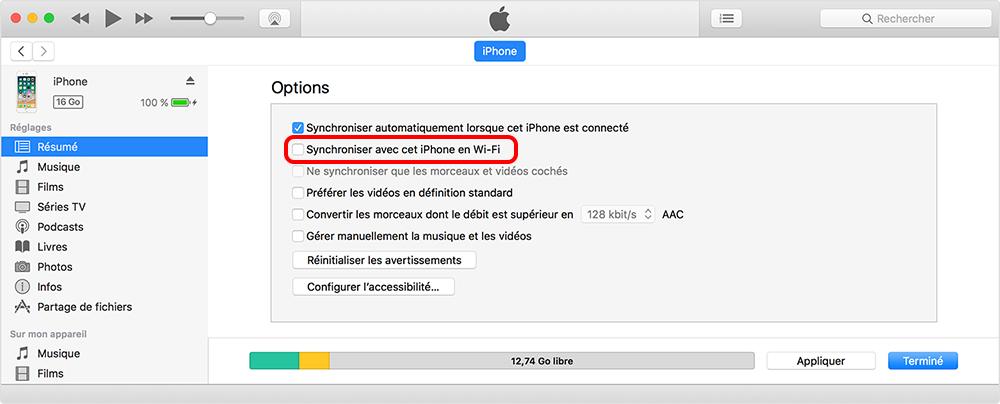 synchroniser cet iPhone en Wi-Fi