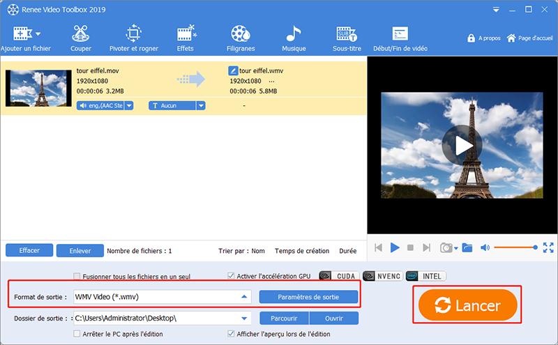 convertir le fichier mov en wmv avec Renee Video Editor Pro