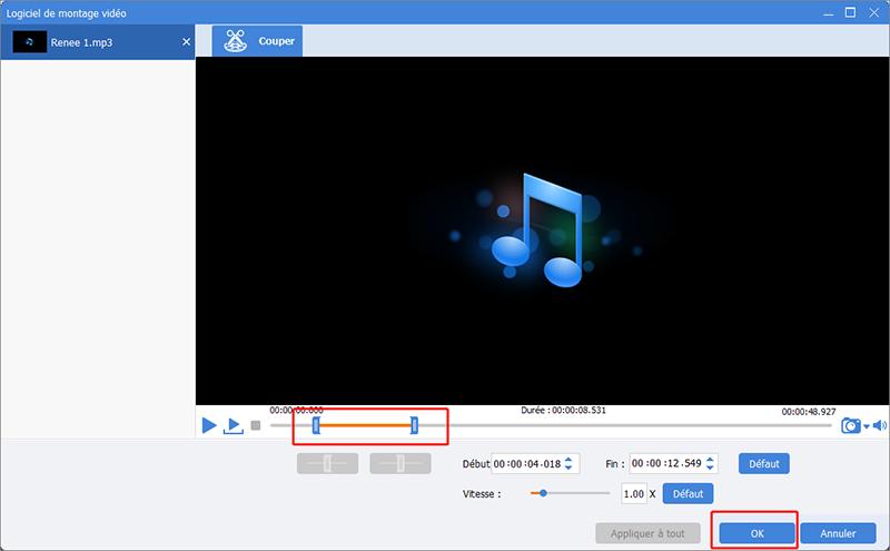 couper le fichier MP3 et cliquer sur OK
