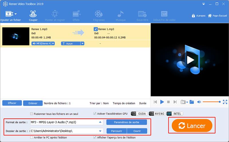 cliquer sur Lancer pour terminer la coupage du fichier MP3