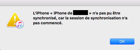 synchronisation d'iTunes échouée
