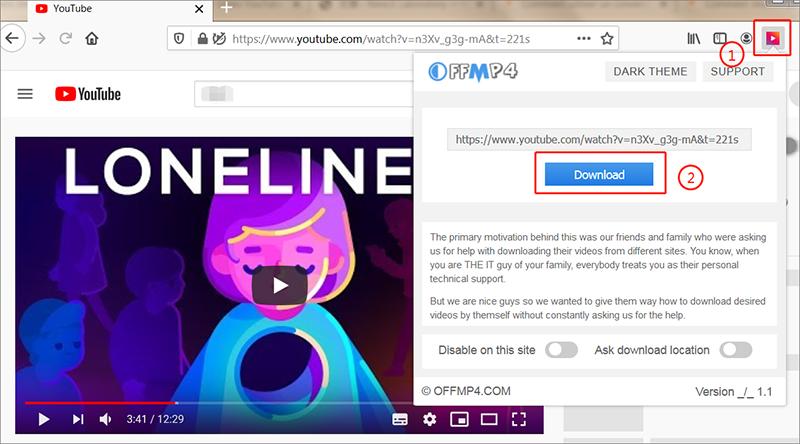 coller le lien de la vidéo et cliquer sur download