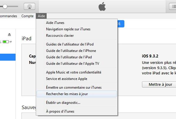vérifier les mises à jour sur iTunes