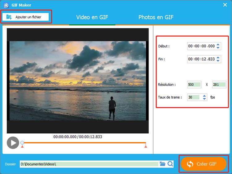 ajouter la vidéo et la convertir en GIF