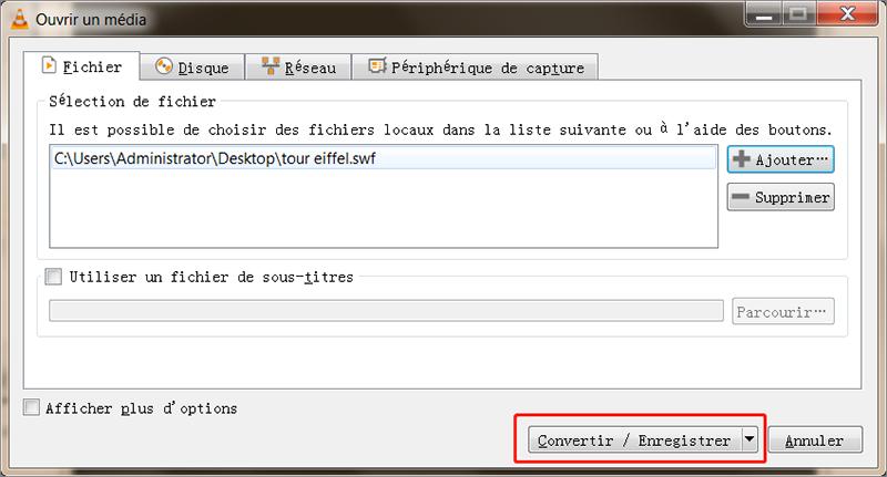 convertir le fichier SWF via VLC