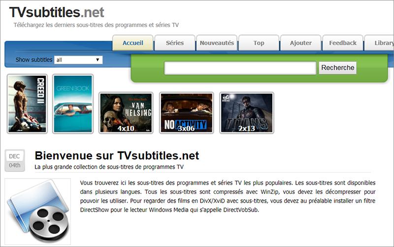 télécharger les sous-titres sur le site TVsubtitles.net