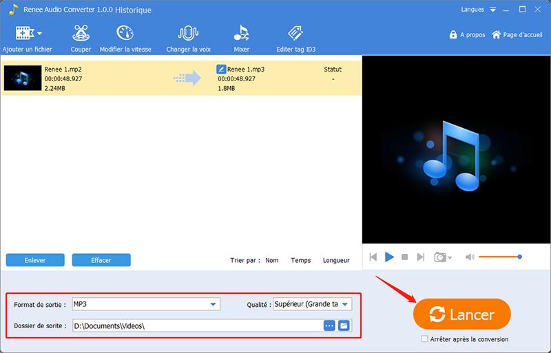 convertir le fichier MP2 en MP3 avec Renee Audio Tools