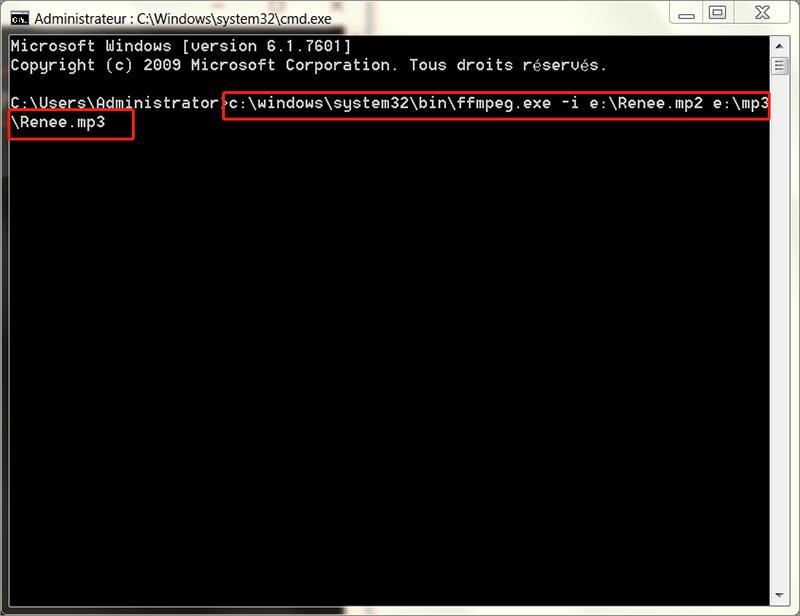 convertir le fichier mp2 en mp3 avec FFmpeg