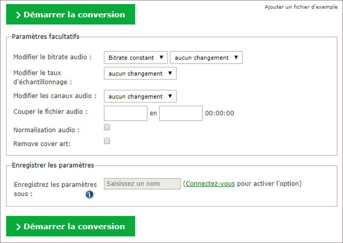 les paramètres de conversion audio