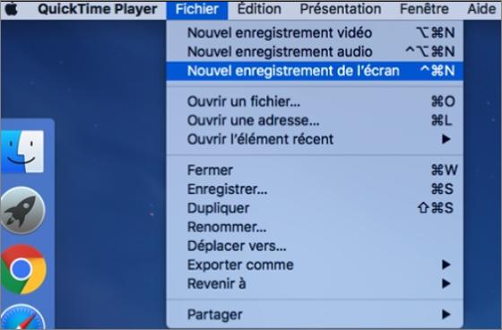 enregistrer l'écran avec Quicktime sur un Mac