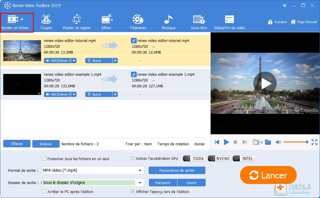 ajouter les vidéos cibles dans Renee Video Editor Pro