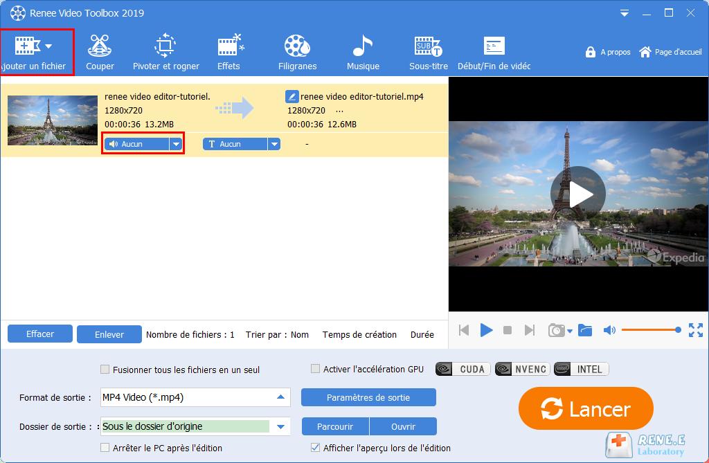 ajouter un fichier MP4 dans Renee Video Editor Pro
