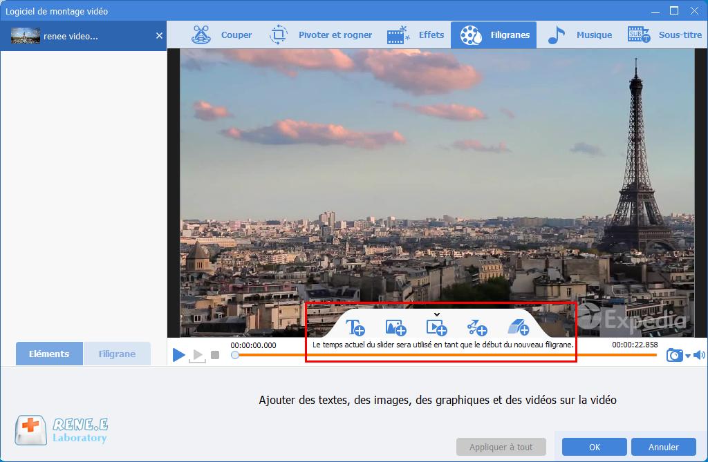ajouter le filigrane dans la vidéo avec Renee Video Editor Pro