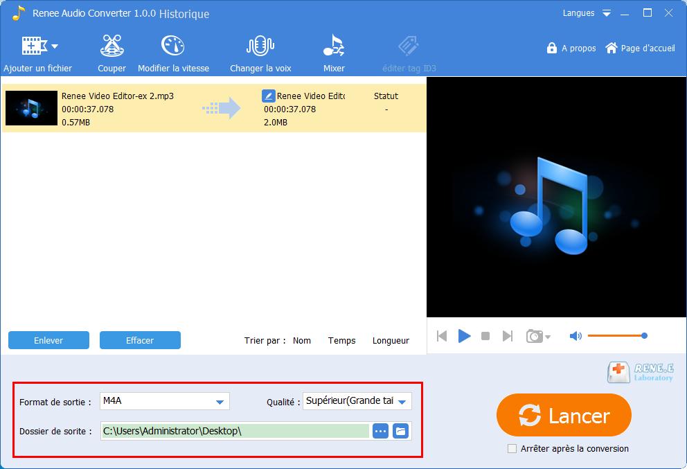 convertir MP3 en M4A