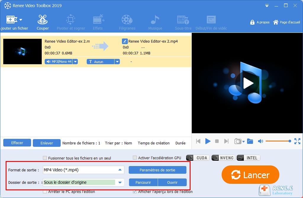 convertir MP3 en MP4 avec Renee Video Editor Pro