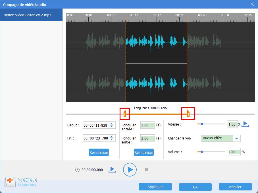 couper le fichier audio MP3