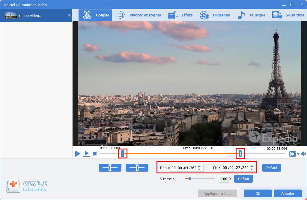 couper le fichier MP4 avec Renee Video Editor Pro
