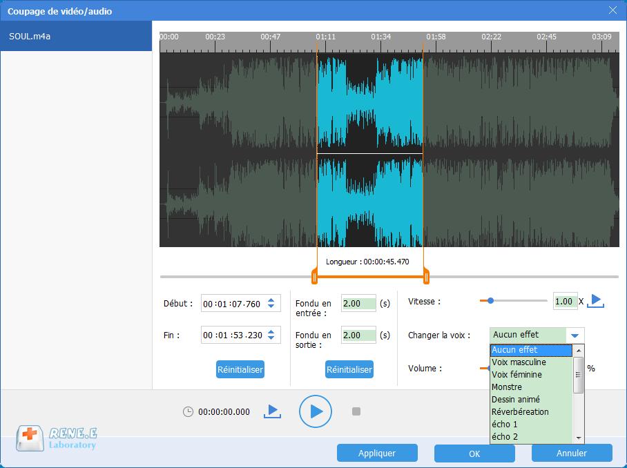 changer la voix du fichier audio