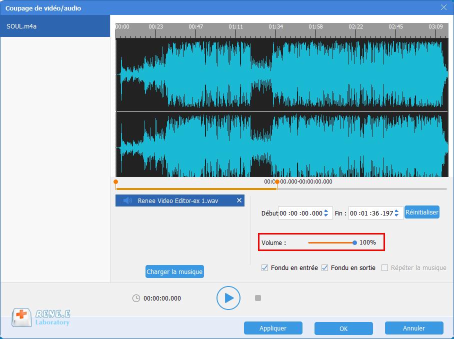 modifier le volume du fichier audio