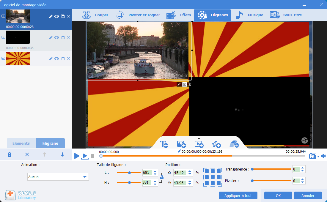vidéo avec l'écran divisé
