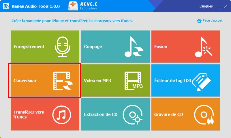 fonctionnalité de conversion de Renee Audio Tools