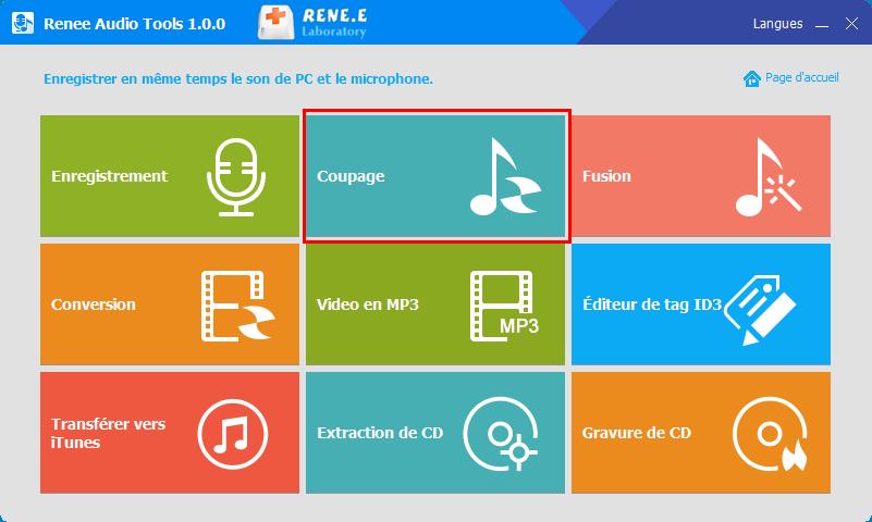 fonctionnalité de coupage de Renee Audio Tools