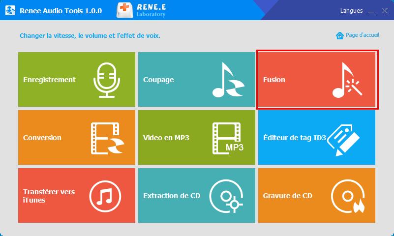 fonctionnalité de fusion de Renee Audio Tools
