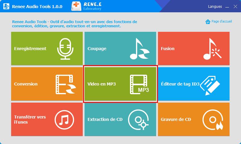 fonctionnalité de video en mp3 de Renee Audio Tools