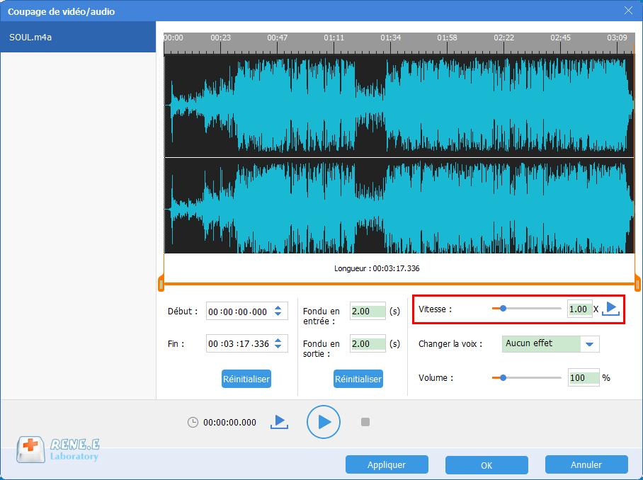 modifier la vitesse du fichier audio