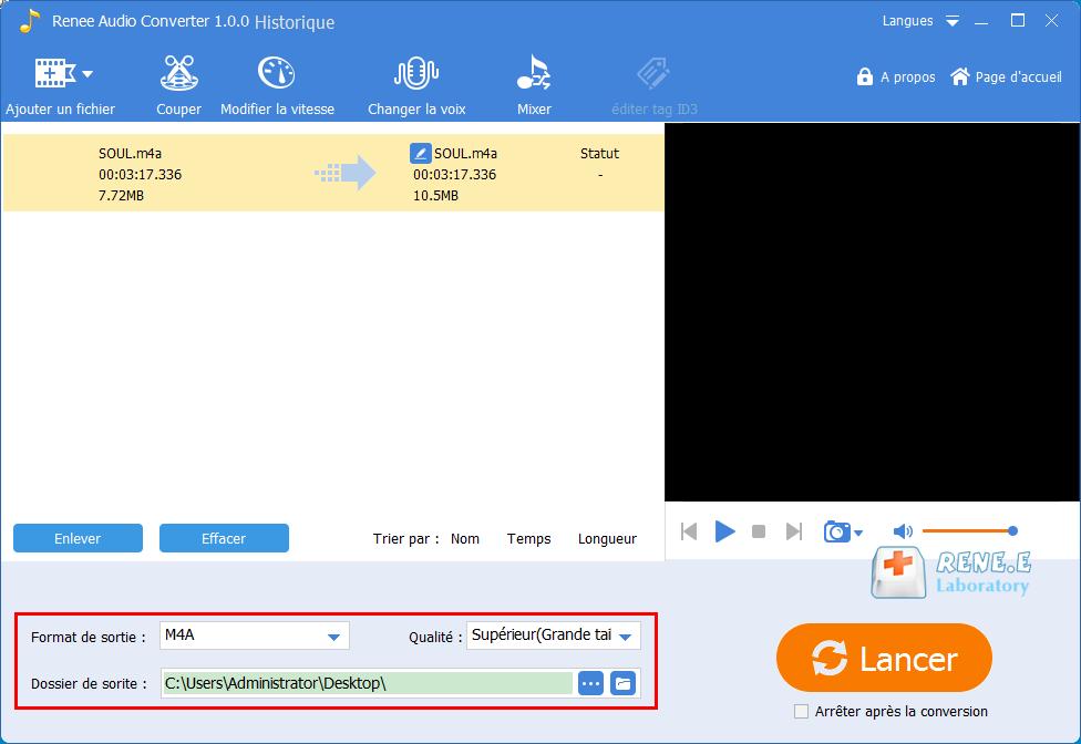 enregistrer  le fichier audio modifié
