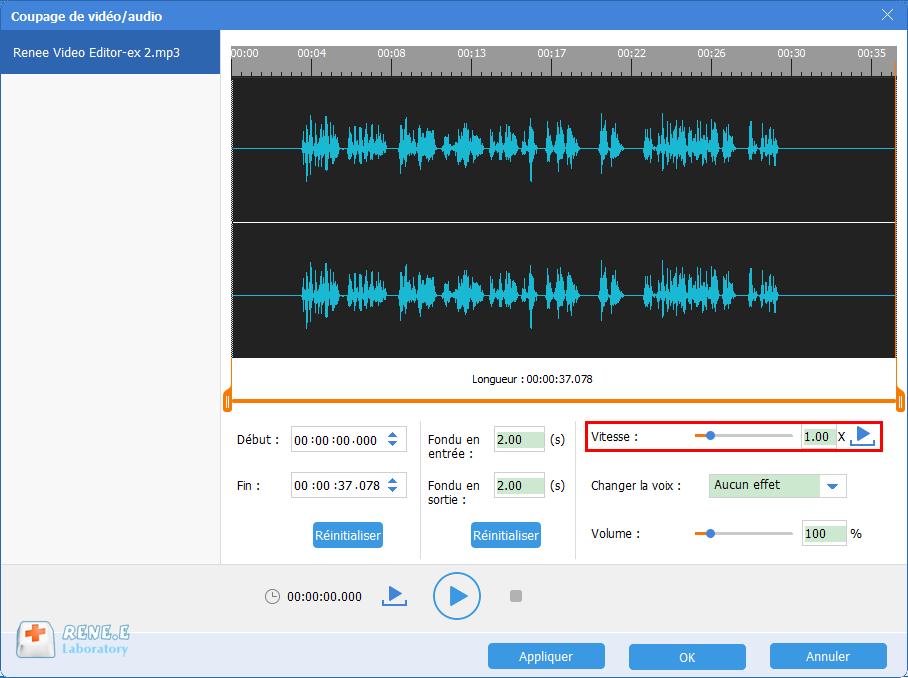 modifier la vitesse de lecture du fichier MP3