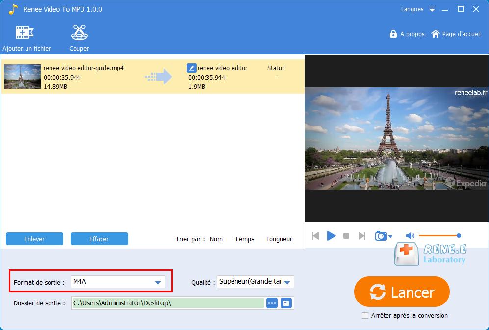 convertir la vidéo en MP3