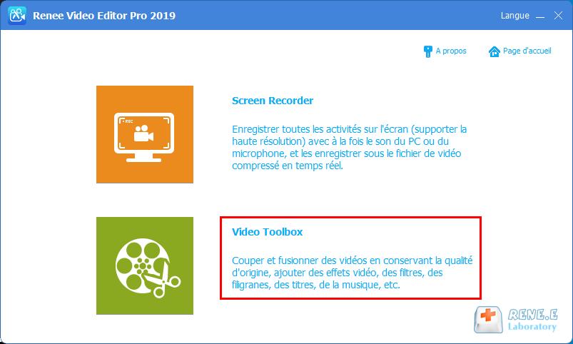 fonctionnalité de montage de vidéo de Renee Video Editor Pro